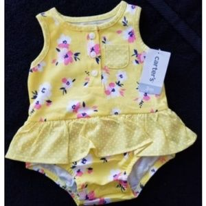 NWT Carters Baby Girls 1 Pc Yellow Floral 3 MO.